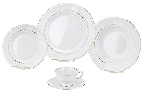 - Cmielow G197, 'Maria Teresa' Gold Band Dinner Set For 4, Premium 20-Piece Porcelain Dinnerware Set, Gift Dinnerware