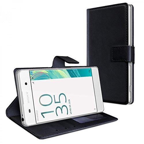 eFabrik Tasche für Sony Xperia XA Hülle Schwarz Smartphone Case Schutztasche mit Aufsteller und Innenfächer Handy-Zubehör Leder-Optik
