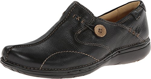 Clarks Unstructured Women's Un.Loop Slip-On,Black Leather,9 W (Clarks Un Loop Footwear)