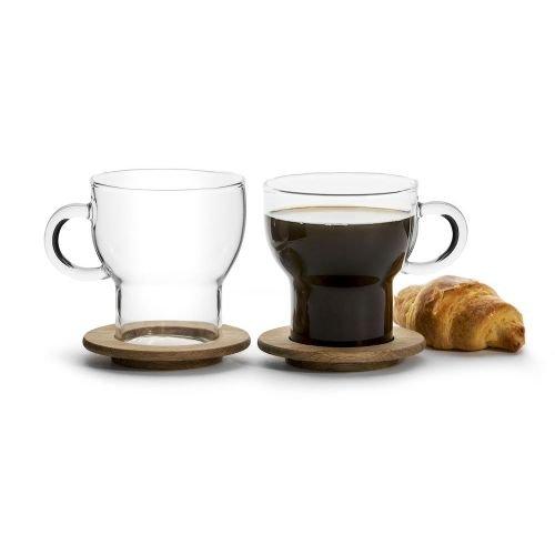 Sagaform 5017746 Glass Hot Beverage Mugs with Oak Coasters, Set of 2 (Oak Beverage)