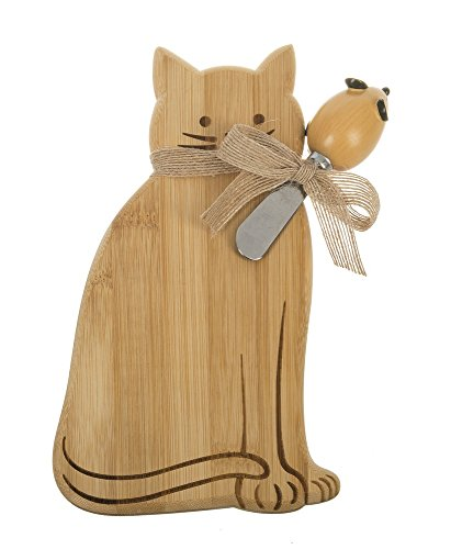 Ganz Dining Bamboo Cat Mice & Cheese Snack Board with Spreader Set