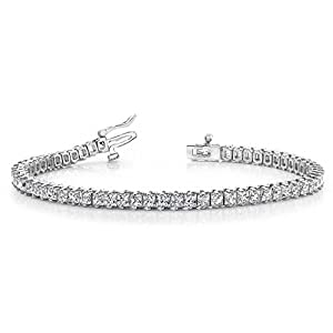 18K White Gold Diamond Princess Cut 2 Prong Set Tennis Bracelet (7.93ctw.) - Size 9.25