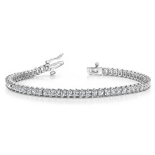 14K White Gold Diamond Princess Cut 2 Prong Set Tennis Bracelet (7.93ctw.) - Size 10