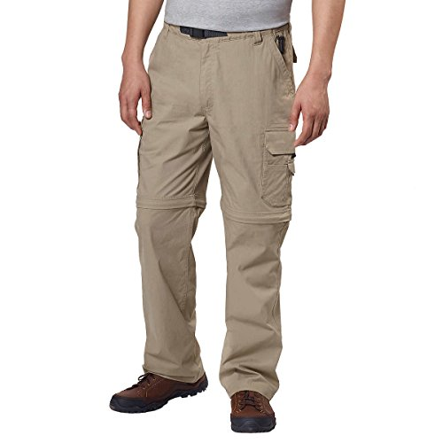 BC Clothing Men's Convertible Stretch Cargo Hiking Pants Shorts, Zippered Pockets (Medium x 30L, Khaki Tan)