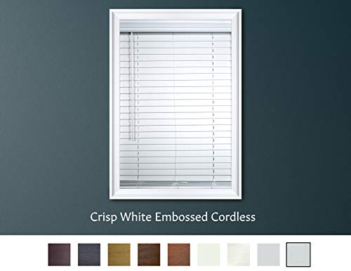 Luxr Blinds Custom-Made 2″ Custom-Made 2″ Faux Wood Cordless Horizontal Blinds with Easy Inside Mount -46″ x 36″Crisp White Embossed