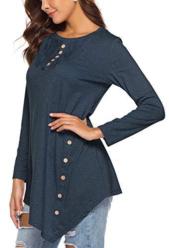 (Jescakoo Women T Shirts Fall Long Sleeve Loose Fit Round Neck Tunic Blue XL)
