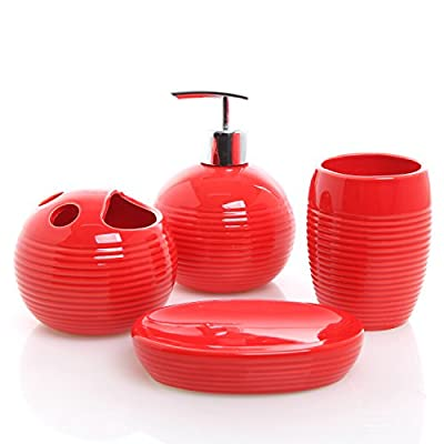 MyGift 4 Piece Red Ceramic Full Bathroom Accessory Set - Toothbrush Holder, Tumbler, Soap Dish, Pump Dispenser - Add flair to your bathroom with this bright red 4 piece ceramic bathroom accessories set. Features 1 soap dish, 1 tumbler, 1 soap or lotion dispenser, and 1 toothbrush holder. Perfect as a thoughtful gift for a housewarming or other special occassion. - bathroom-accessory-sets, bathroom-accessories, bathroom - 41Ie%2Bxo9LDL. SS400  -