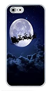 5S Cases, iPhone 5S Protective Case - Santa Clause Sledge Reindeer High Quality PC Plastic Slim Lightweight Hard Case Cover for iPhone 5/5s White