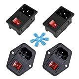 Gadgeter 4 Pcs inlet Module Plug Fuse Switch Male Power Socket 10A 250V 3 Pin IEC320 C14 ...