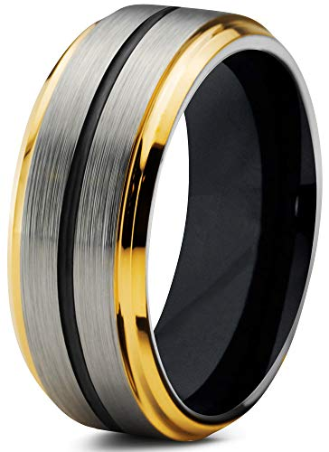 (Chroma Color Collection Tungsten Wedding Band Ring 8mm for Men Women Black 18K Yellow Gold Grey Center Line Step Bevel Edge Brushed Polished Size 11.5)