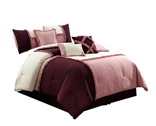 Chezmoi Collection Com Emiko by Luxury Ruffles Patchwork Burgundy/Ivory Bedding Comforter Set (Twin, Rose Pink)