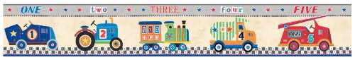 York Wallcoverings YS9131BD Peek-A-Boo Cars Border, Sand Beige/Red/Orange/Grey/White/Spring Green/Denim Blue (Border Wallpaper Truck Fire)