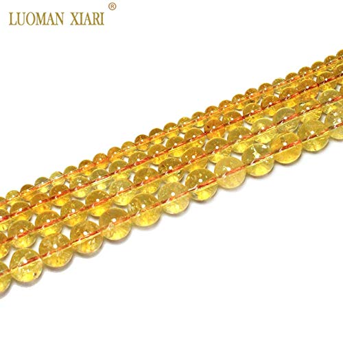 NTNH12 Beads - Fine 100% Natural Citrine Beads Yellow Quartz Natural Stone Beads for Jewelry Making DIY Necklace 6/8/10/12mm 15