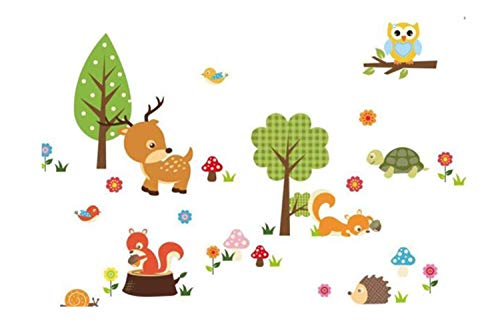 Chouron Baby Wall Sticker Bedroom Background Forest Animals Owl Children's Room Cute Nursery Vinyl Mural Home Decor for Living Room Kid's Bedroom Decal -