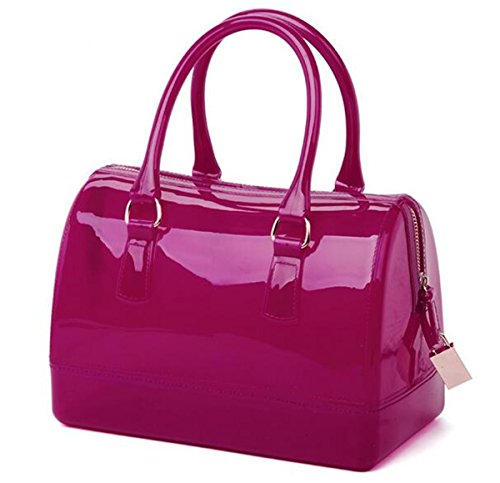Mr.Bag Fashion Women's Candy Colors Pillow shape Bag Sweet Jelly Handbag (Rose Red) (Candy Color Jelly Bag compare prices)