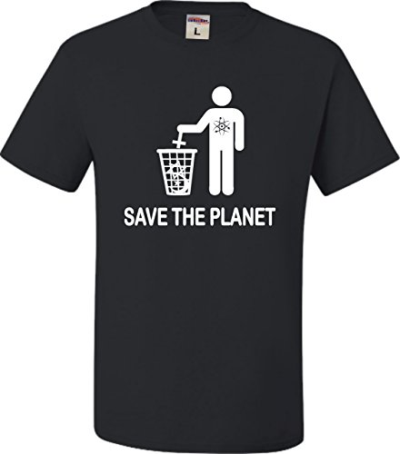 Go All Out X-Large Black Adult Save The Planet Funny Atheist T-Shirt
