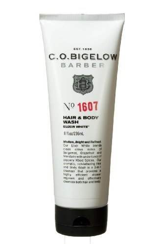 White Hair Body Wash - C.O. Bigelow Barber, Men's Hair and Body Wash Elixir White, No. 1607, 8 OZ