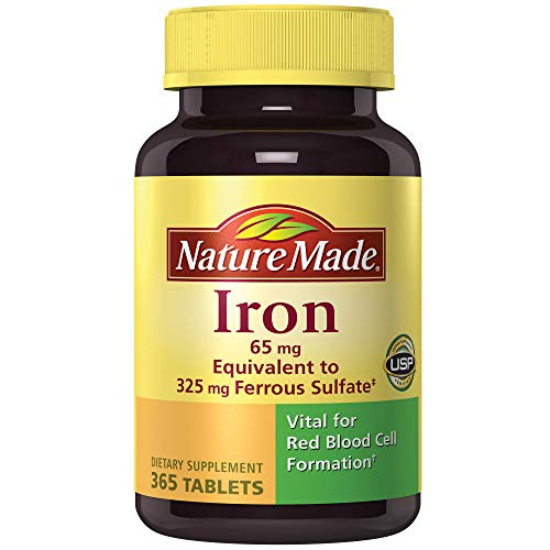 Nature Made Iron 65 mg (365 Count, from Ferrous Sulfate) 1 Bottle, 365 ()