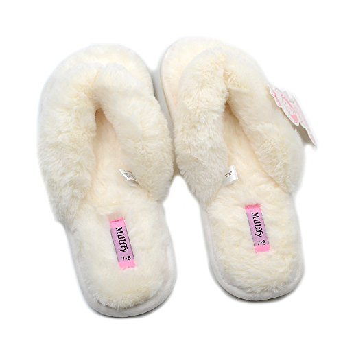 Women's refers Beige Summer Spring Indoor Flops Fashion Flax Slippers To Lucy Home Shoes Millffy Fur Flip pqEUWycU