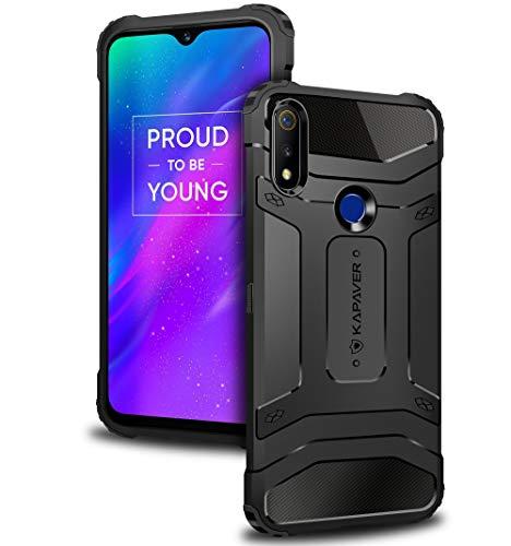 KAPAVER® Oppo Realme 3 Pro Back Cover Case Drop Tested Shock Proof Carbon Fiber Armor Black (Only for Realme 3 pro)