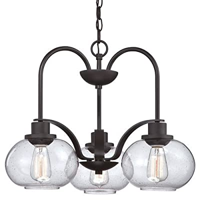 "Quoizel TRG5103 Trilogy 3 Light 22"" Wide Single Tier Chandelier with Seedy Clear,"