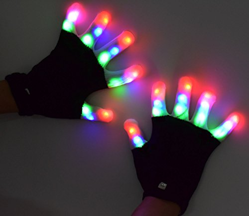 LED Flashing Glow Rave Gloves, Light-up Toys with Lights 3 Colorful 7 Modes Fits Women, Men & Kids for Halloween Christmas Light Show Clubbing Raves Disco Birthday Party, Full Fingers Flash