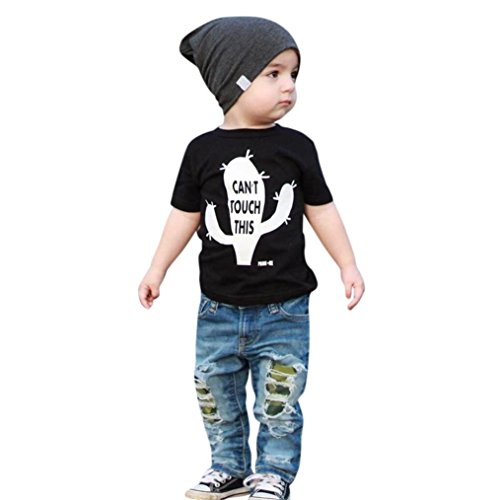 Moonker Kid Toddler Baby Boys Outfits Clothes Short Sleeve Letter Tees T-Shirt and Denim Hole Jeans Pants Sets 1-5T (18-24 Months, Black) from Moonker
