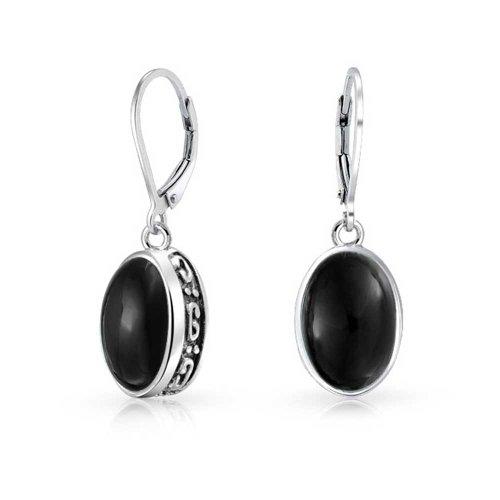 925 Sterling Silver Oval Bezel Set Gemstone Bali Style Leverback Earrings