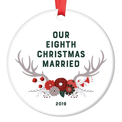 Eighth Christmas Married Ornament 2019 8 Years as Mr & Mrs Husband Wife 8th Anniversary Keepsake Gift Pretty Woodland Boho Floral Antlers Tree Decoration Ceramic 3