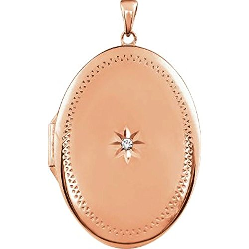 Rose Gold Plated Sterling Silver .05 CT Diamond Locket by Bonyak Jewelry