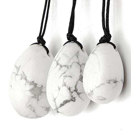 3Pcs Natural White Howlite Body Massage Stone Vaginal Muscle Tightening Kegel Exercise Egg - Massager & Relaxing Manual Massager - 3 Pcs x White Howlite Crystal Eggs With Rope (Big/Medium/Small)