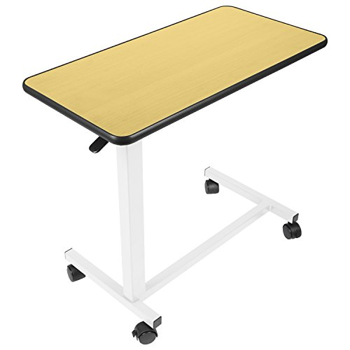 Vive Overbed Table - Swivel Wheel Rolling Tray Table - Adjustable Bed Table for Home or Hospital - Laptop, Reading and Breakfast Cart for Bedridden (Overbed Tray)