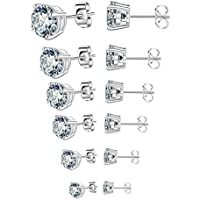 Outop Stud Earrings for Women Round Cubic Zirconia Stainless Steel Earrings Studs Plated White Gold, 3-8mm (6 Pairs)