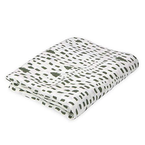 Oliver & Rain Baby Swaddle Blanket - Newborn 100% Organic Cotton Green Tree Print Muslin Swaddle Blanket