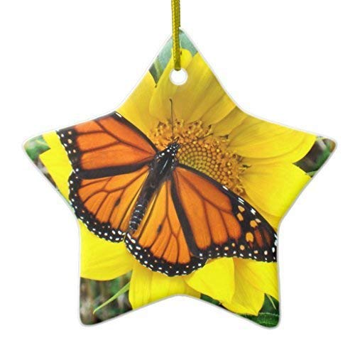 Joanna Novelty Christmas Tree Decor Monarch Butterfly On Sunflowers Ornament Star Christmas Decorations Ornament Crafts BH578912