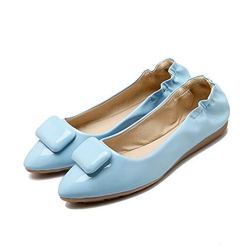 Azzurro Tirare Tacco Donna Ballet Punta AllhqFashion Puro Chiusa Basso Flats FBUIDC010801 vqwxC