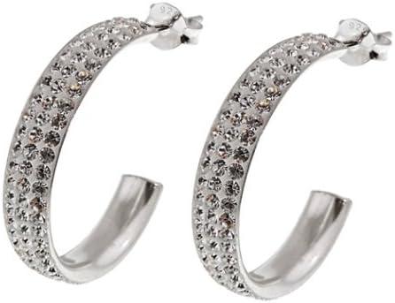 925 plata esterlina blanco claro medio de cristales de Swarovski pendientes de aro