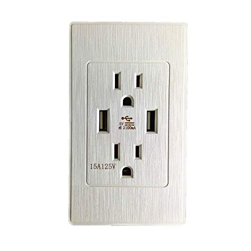 Yu2d  Dual 2.1A 2-Port Rapid Charging USB Wall Outlet & Conventional Wall Socket(White) ()