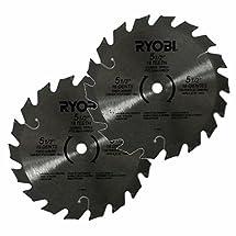 "Ryobi 6797329 5-1/2"" 18 Tooth Carbide Tipped Blade 10 mm Arbor for Ryobi One Plus Circular Saws New Bulk 2 Pack"