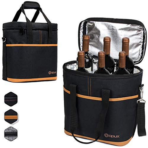 Premium Insulated 6 Bottle Wine Carrier Tote Bag | Wine Travel Bag with Shoulder Strap and Padded Protection | Wine Cooler Bag (Brown)