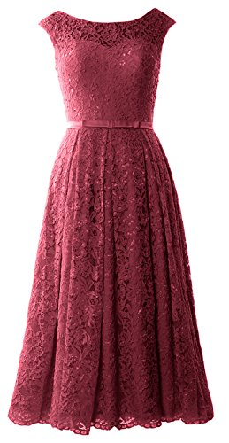 Women Wine Caps Red Wedding Sleeve Midi Homecoming Prom Macloth Lace Formal Dress Gown dqRBPw