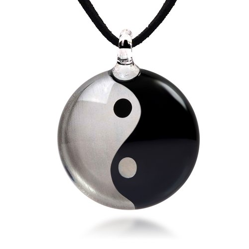 (Chuvora Hand Blown Venetian Murano Glass Yin Yang Symbol Silver Black Round Pendant Necklace, 18-20 inches)
