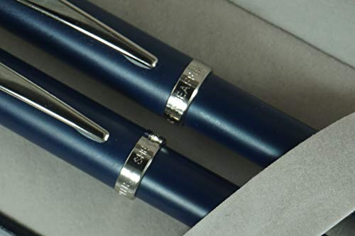 (Sheaffer 100 Matte Blue Collection with Nickel appointments and Sheaffer dot of Excellence Rollerball Pen and 0.7MM Pencil Set)