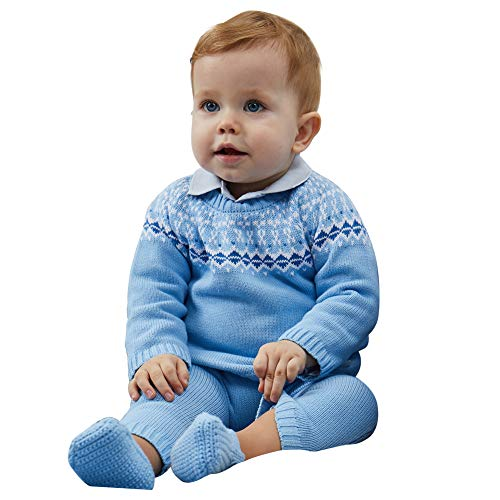 Petit Clan Newborn Baby Boy 2 Pieces Cardigan with Pant Set, Intasia Flower Knit, Sky Blue, Quality 100% Cotton