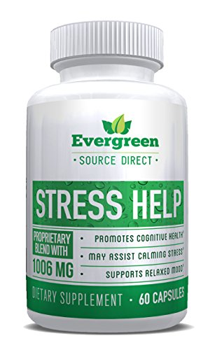 STRESS HELP by Evergreen Source Direct. All Natural Calming & Anxiety Supplement. Supports Mental Clarity. by Evergreen