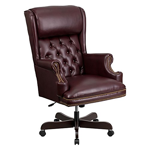 Offex High Back Traditional Tufted Burgundy Leather Executive Office Chair