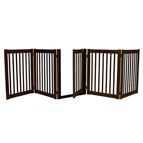 Freestanding Walk Through Gate 5 Panel Mahogany (Panel Pet Gate 5)