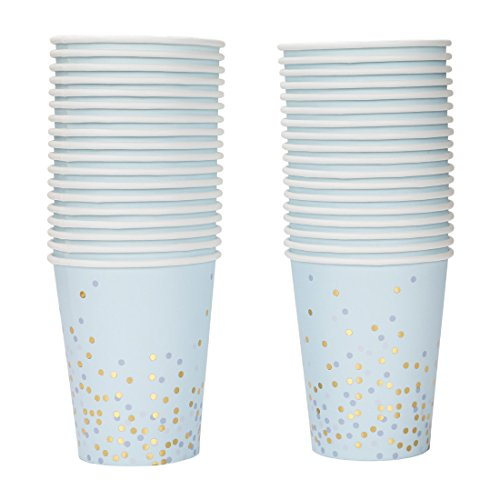 Geeklife Gold Foil Dots Paper Cups,Light Blue Background Sparkly Gold Disposable Paper Cups 9oz for Wedding,Party and Cocktail,40 pcs (Foil Dots)