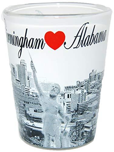 Birmingham Alabama Black and White Heart Skyline Shot - Glass Alabama