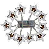 FILOL household products 1M/2M/3MBattery Wooden Star Shape Fairy String Light Easter Wedding Party Decor LED Fairy String Lights,Powered Warm White String Lights Multi Color Changing (1)
